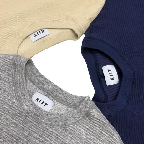 COTTON STRECH WAFFLE CREW NECK PULLOVER