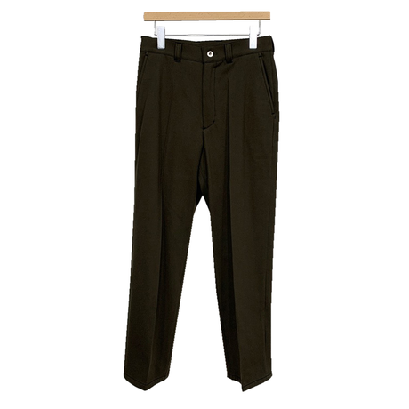 C/W/N BRUSHED TWILL LOOSE FIT CENTER CREASE TROUSERS