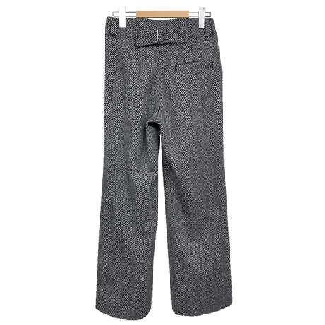 RECYCLE WOOL HERRINGBONE WIDE FLARE PANTS