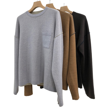EXTRAFINE MERINO WOOL REVERSIBLE CREW NECK KNIT