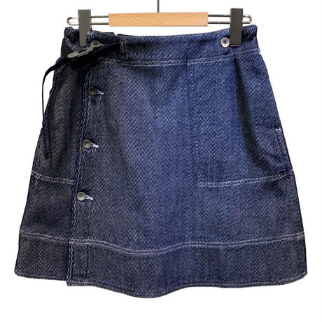 C/Si TWEED DENIM WRAP SKIRT