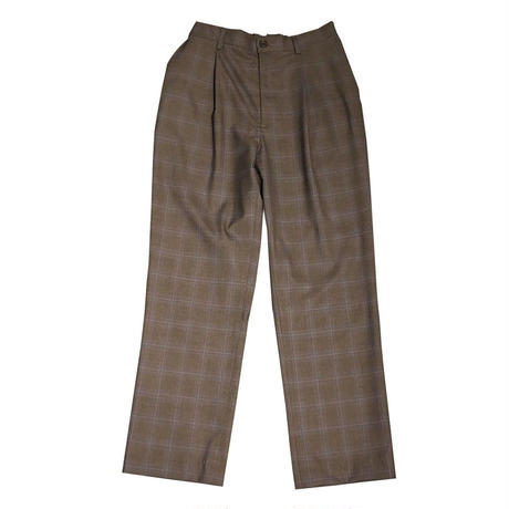 SUPER 140'S WOOL TROPICAL CHECK EASY TROUSERS