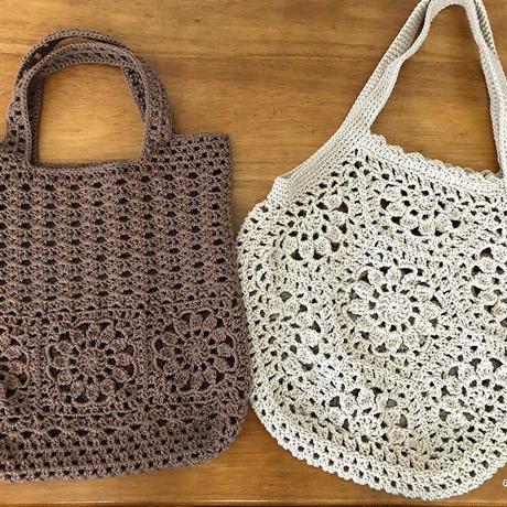 【編み図】お花のモチーフ繋ぎのバッグ2点セット