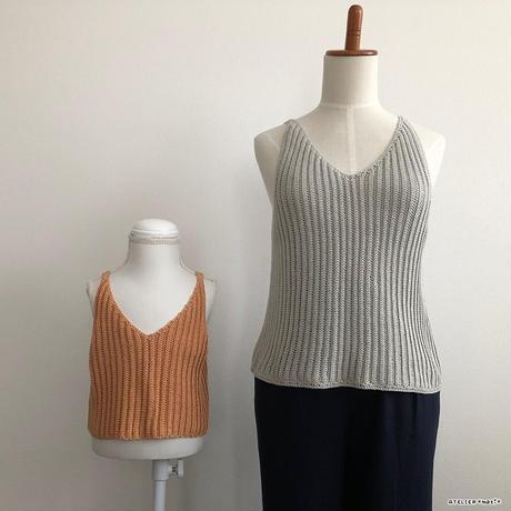 【編み図】畝編みで編むリブ編み風キャミソール(ダウンロード版)