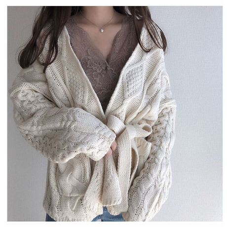 【ladies】cable knit cardigan