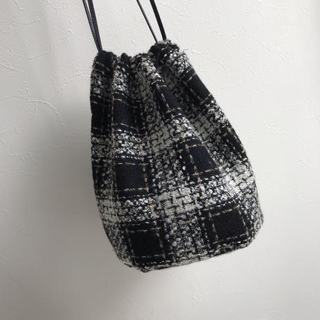 Tweed check  巾着