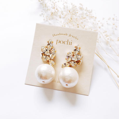 Crystal Wing × Pearl Earrings