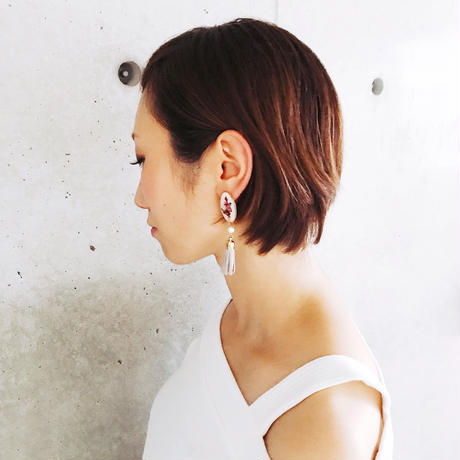 Herbarium × Tassel Earrings -Rose × Lavender-