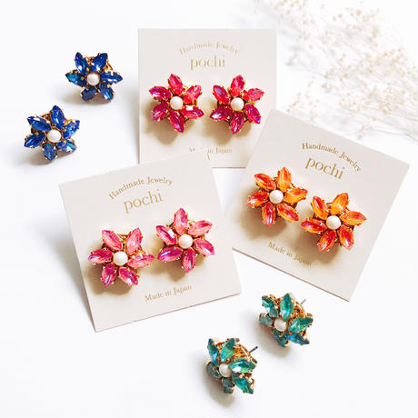 ★2020 A/W NEW COLOR★Crystal Flower Earrings