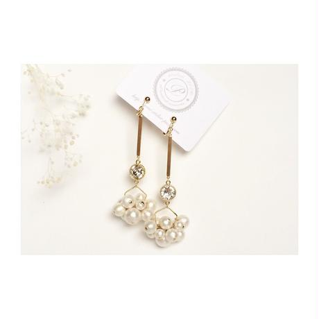 Bubble Pearl Bar Earring