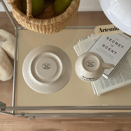 Classic Lettering  cup and saucer set A-01