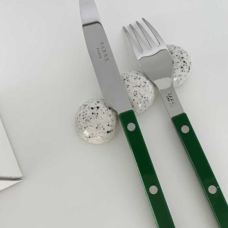 beads spoon holder(black dot)