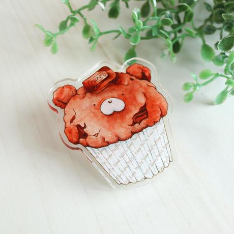 クマフィン☆アクリルクリップバッジ