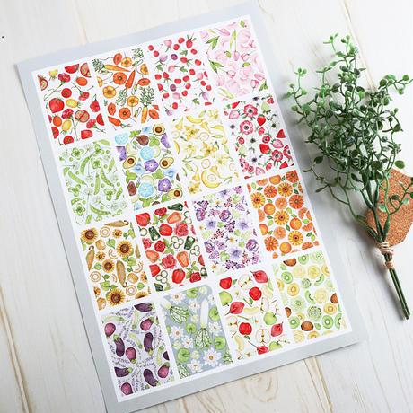 野菜と果物とお花のつぎはぎ♡A4サイズポスター