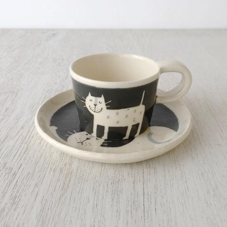 デミタスカップ&ソーサー  / ネコ【Monochrome Art】