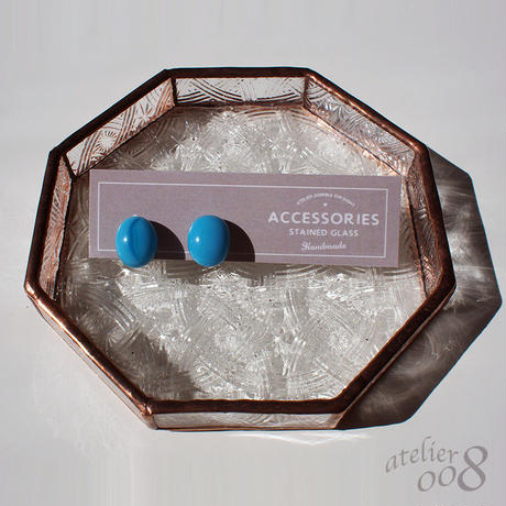 粒ガラスのイヤリング(ピアス) ターコイズブルー
