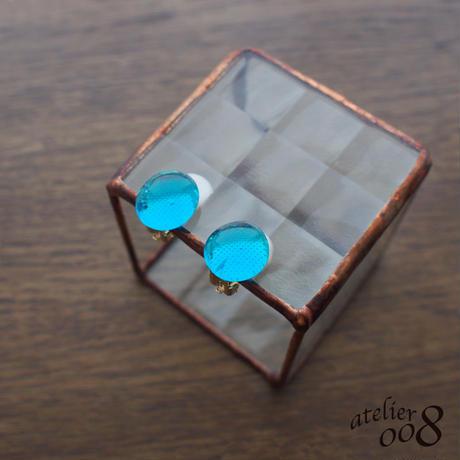 粒ガラスのイヤリング(ピアス) クリアブルー