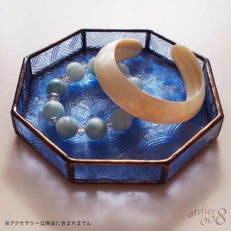 【送料無料】ステンドグラストレイ(小物入れ)ペールブルー