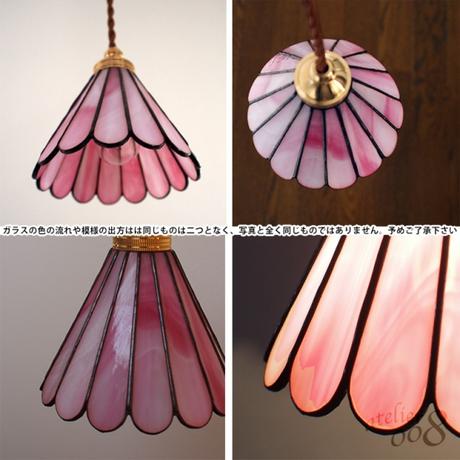 ステンドグラス ペンダントライト 春色ピンク(LED対応コード)