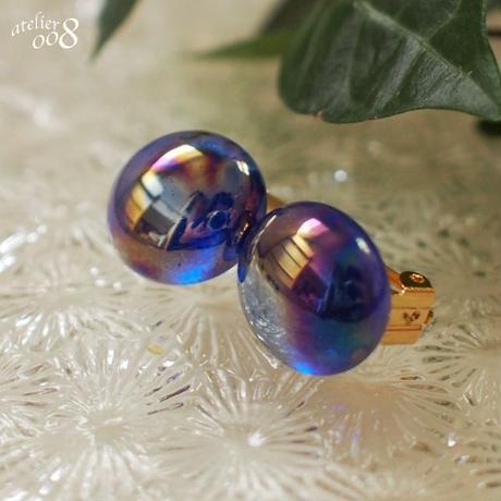 ガラスの粒イヤリング(銀河)