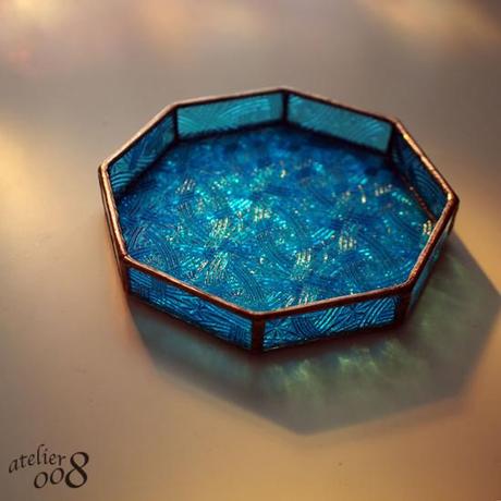 【送料無料】ステンドグラストレイ(小物入れ)ブルー