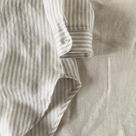 オーツシャツ リネン ヘリンボーンストライプ カフェオレカラー