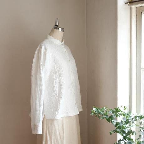 コンフォートシャツ コットン 刺繍ガーゼ オフホワイト
