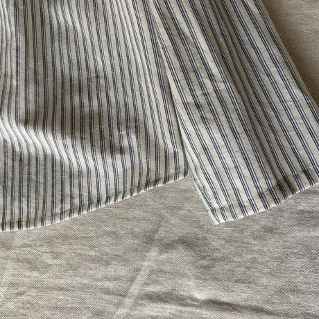 麦のシャツ コットンリネンストライプ     生成り×ブルー