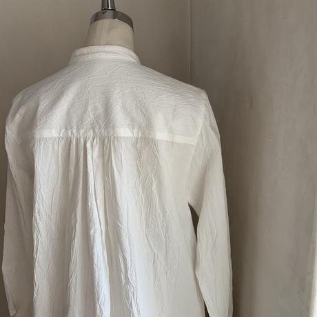 オーツシャツ コットン ダブルガーゼ刺しゅう オフホワイト