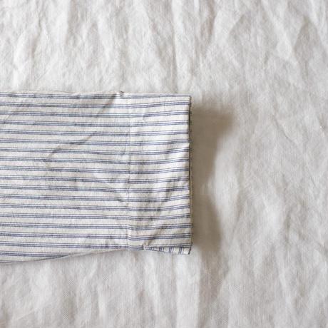 ミモザチュニックワンピース7分袖 コットンリネン  スラブストライプ キナリ×ブルー