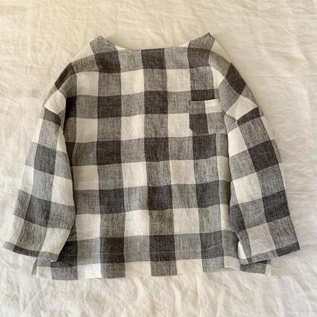 クロスシャツ リネン   7分袖ブロックチェックオフホワイト×グレー