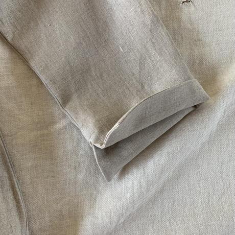 ミモザチュニックワンピース リネン花刺繍 ナチュラル