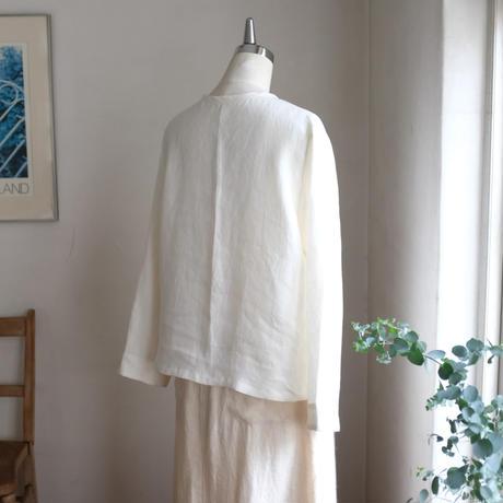 サクレシャツ リネン  ツイル ミルキーホワイト