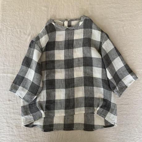 クラウドシャツ 5分袖  リネンブロックチェック  グレー