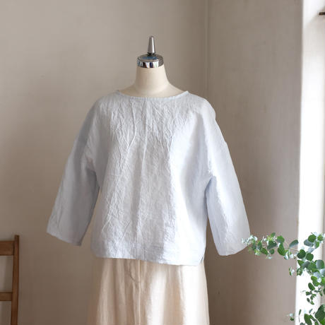 布Tシャツ 7分袖 リネン  ダンガリー アイスグレー