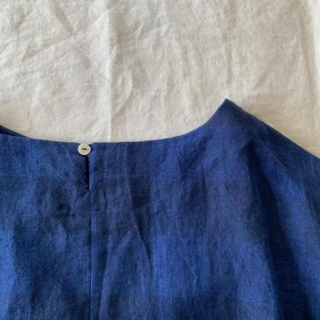 クロスTシャツ半袖 リネン ブロックチェックネイビー