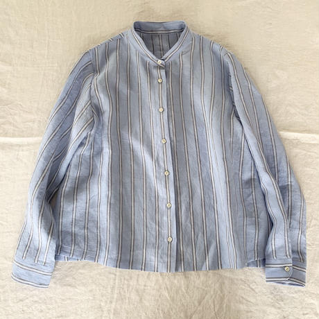 コンフォートシャツ リネンストライプサックスブルー