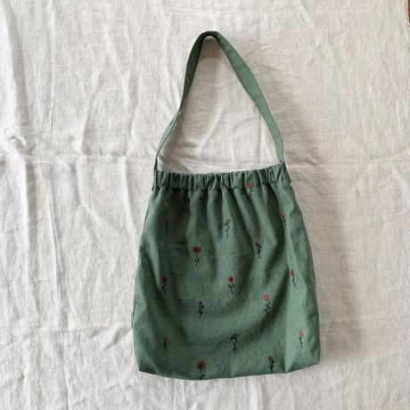 シューバッグ コットンリネン 花刺繍 グリーン