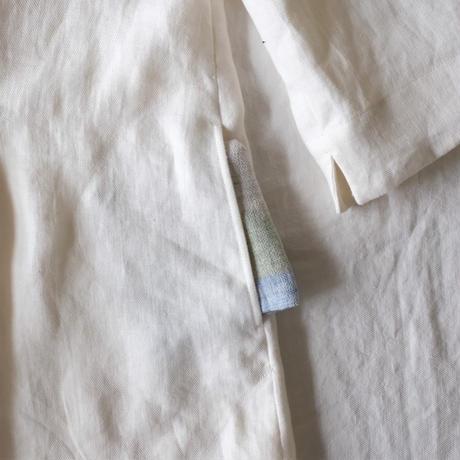 ミモザチュニックワンピース7分袖 リネン ツイル ミルキーホワイト