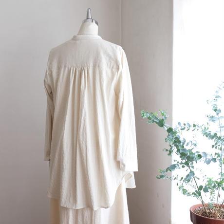 オーツシャツ cotton 刺し子風  オフホワイト×ライトグレー