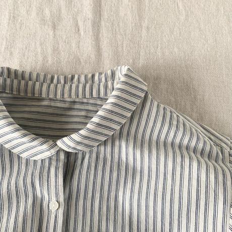 はるくシャツ コットンリネン スラブストライプ 生成り×ブルー