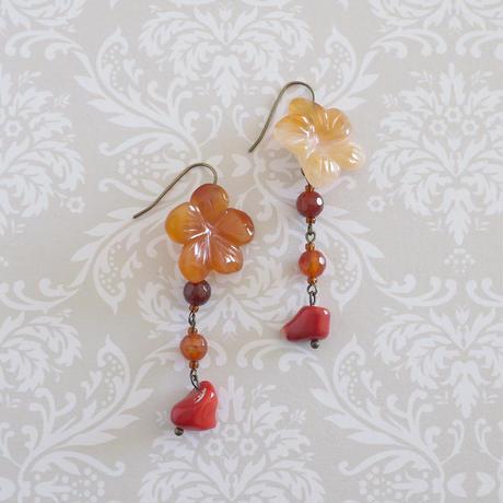 赤いネックレス&ピアス・イヤリングセットnp-2408