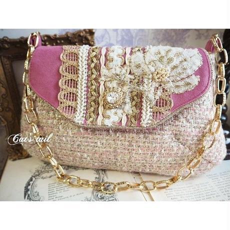 イタリア製ツイード&人工皮革のエレガントバッグ