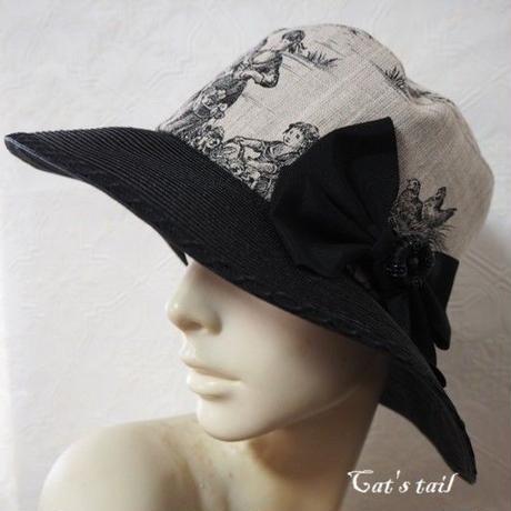 フランス製トワルドジュイ&ブレードのクラシカル帽子