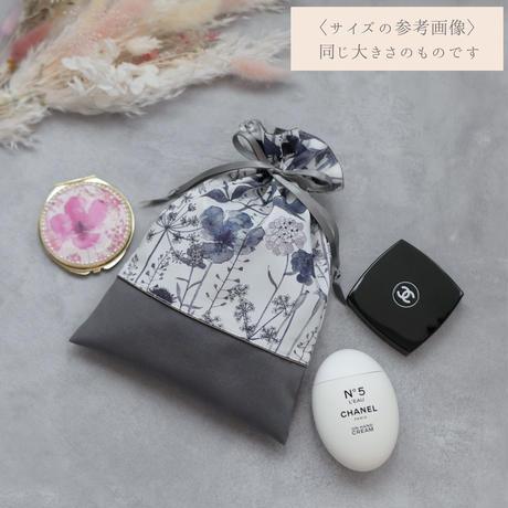 リバティ 巾着ポーチ M【 ミシェル 】ブルーグレー リバティプリント