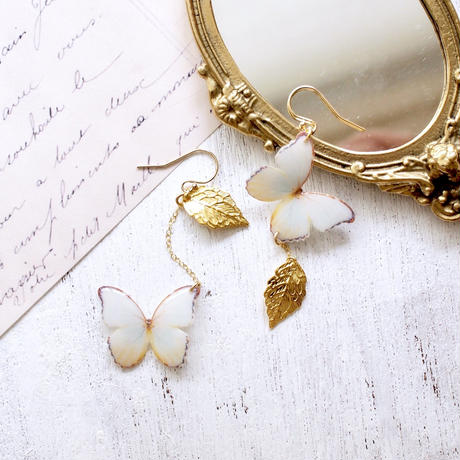 Antique White Butterfly Earrings With Leaf [Pierced Or Clip-on]