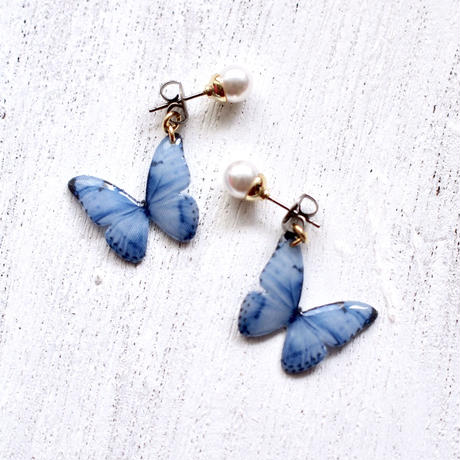 Denim Blue Butterfly Earrings With Pearl [Pierced or Clip-on]