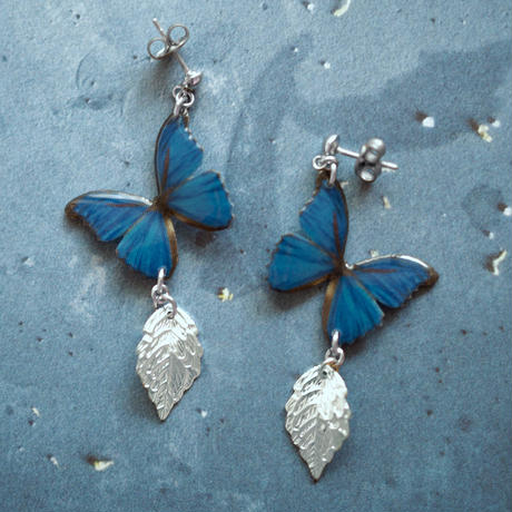 Ocean Blue Butterfly Earrings With Leaf [Pierced Or Clip-on]