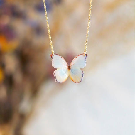 Antique White Butterfly [Necklace/ Alloy chain]