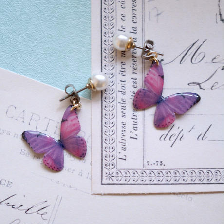 Light Purple Butterfly Earrings With Pearl [Pierced or Clip-on]
